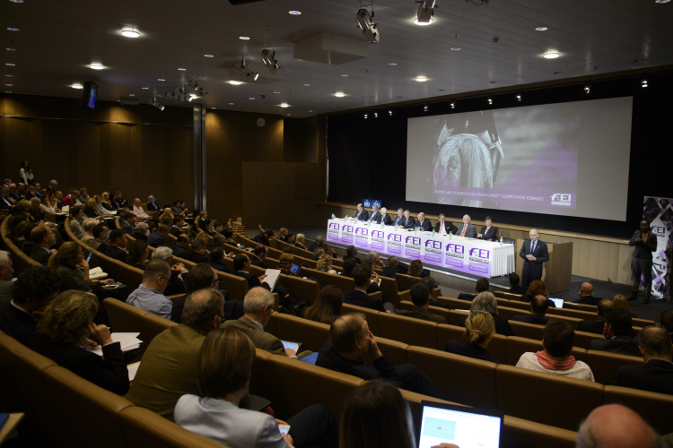A record number of delegates attended the FEI Sports Forum at IMD in Lausanne (SUI), where Olympic and FEI World Equestrian Games competition changes were debated at length. (FEI/Richard Juilliart)