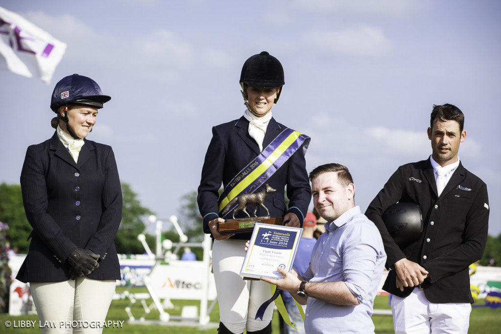 Land Rover CCI1* Prizegiving: 1st: Dani Evans, 2nd Emilie Chandler, 3rd Jock Paget (Image: Libby Law Photography)