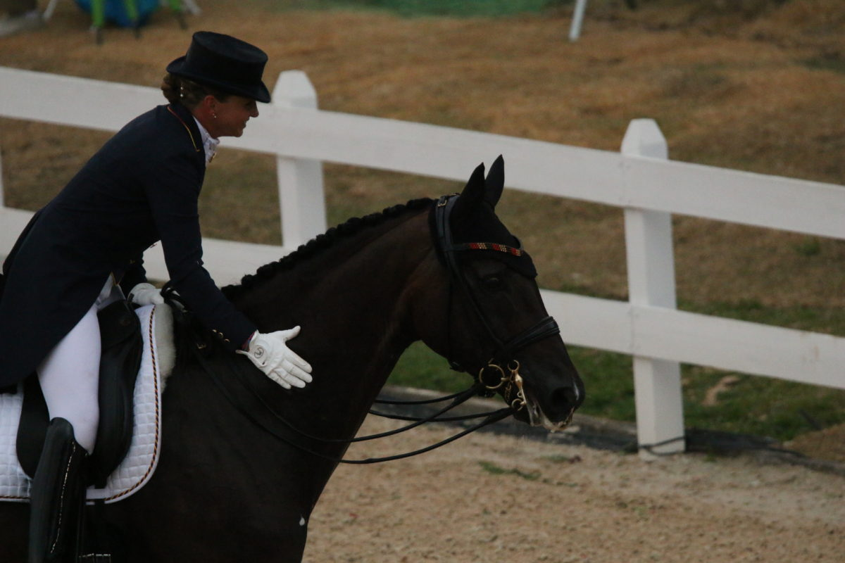 Last horse on the first day nails it. Dorothee Schneider and Showtime FRH. It was really dark by then, thanks to the rain coming in.
