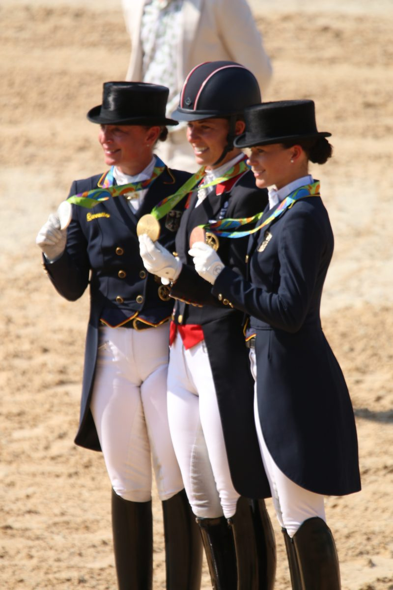 It was an all woman finish to the dressage, following on from the three blokes winning the eventing medals.
