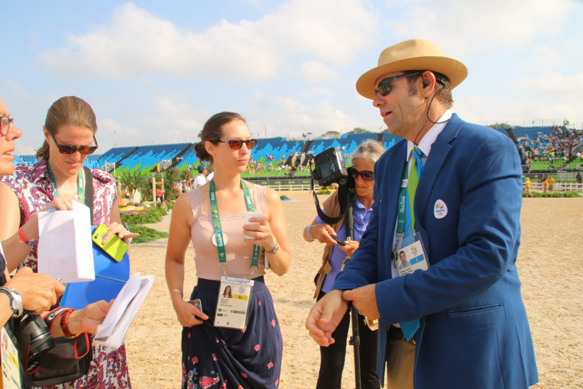 Guilherme Jorge with Pippa and Alice from Horse & Hound at the Rio Olympics