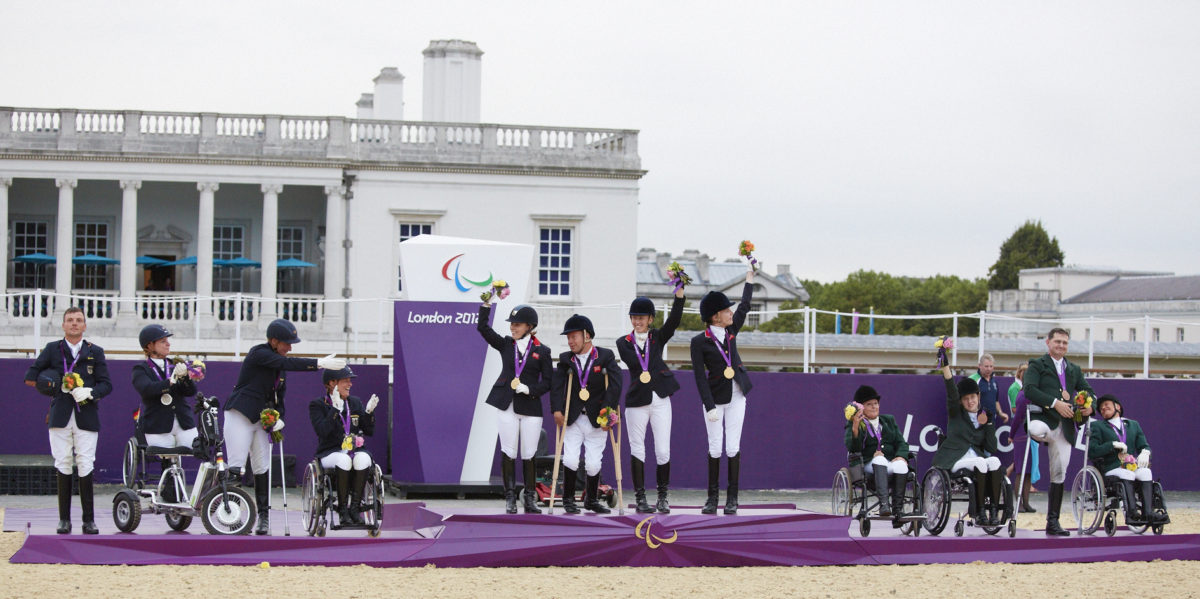 London 2012 Team podium, Great Britain in gold, Germany in silver and Ireland in bronze Photo (FEI/Liz Gregg)